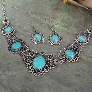 Jewelry - Antique Fashion Turquoise Necklace Earrings Set